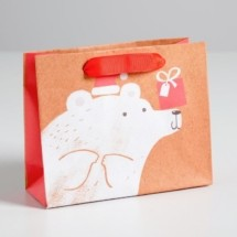 Пакет крафтовый горизонтальный «Подарок для тебя!», S 15 × 12 × 5.5 см