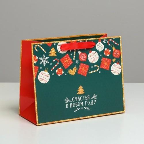 Пакет ламинированный горизонтальный «Счастья в Новом году», MS 23 × 18 × 10 см