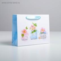 Пакет подарочный ламинированный «С пожеланиями...» 22 × 17.5 × 8 см