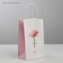 Пакет подарочный крафт Be happy, 12 × 21 × 9 см