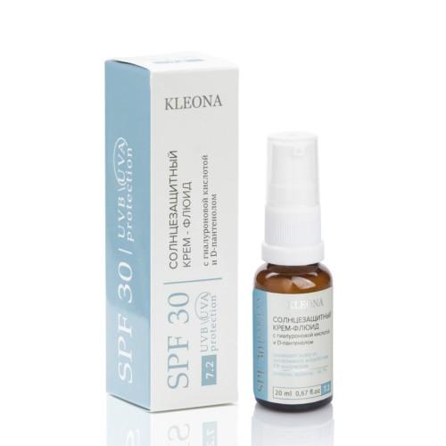 KLEONA  Солнцезащитный флюид для лица с гиалуроновой кислотой и D-пантенолом SPF 30, 20мл